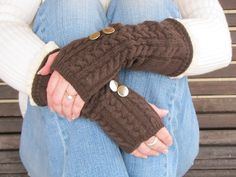Fingerless Armwarmer Chocolate Knit Gloves by ParamoreArtWorks, $15.00