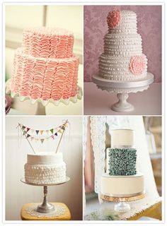 Ruffled Cakes. my favorite colors! the white one with pink flowers can just go ahead and be my wedding cake.