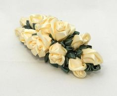 Tsumami Kanzashi Flower Hairclip with cream roses by LazuritLouise