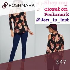 🔶Was $37🔶 Print Choker Neck Top Floral Print Choker Neck Front Key Hole Cold Shoulder Top.  Semi sheer. Fabric Content: polyester/spandex Tops Blouses