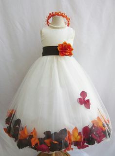 Customize infant toddler teen ivory rose petal wedding party flower girl dress in Clothing, Shoes & Accessories, Wedding & Formal Occasion, Girls' Formal Occasion Flower Girls, Fall Flower Girl, Flower Girl Dresses Country, Toddler Flower Girl Dresses, Our Wedding, Dream Wedding, Wedding Ideas, Wedding Inspiration, Girls Fall Dresses