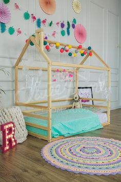 Home bed is an original house shaped bed or frame bed for children to sleep and play. Adorable floor bed will make transitioning from a nursery cot or crib to a toddler bed smoothly. Wood house bed is designed following natural furniture and Montessori toy principles of developing