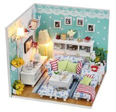 Miniature Dollhouse  DIY Kit  The Dream Room Living by SimpleSmart