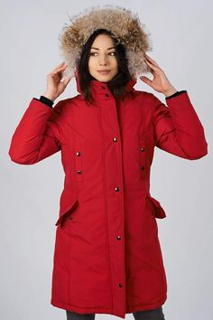 Women's winter down coat, 725 fill power. Arctic Bay - Made in Canada. Parka Canada, Canada Goose Jackets, Down Parka, Down Coat, Do It Yourself Wedding, Womens Parka, Winter Jackets Women, Arctic, Rib Knit