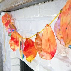 fall leaf garland made with coffee filters and water color paints