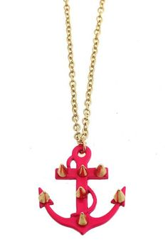 #ROMWE Colored Riveted Anchor Pendant Necklace