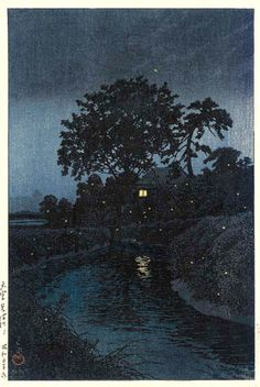 "川瀬巴水 Hasui Kawase『大宮 見沼川』""Minuma River, Omiya ""(1930)"