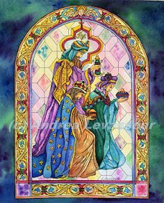 """Andrea's Art Studio """"Wise Men Still Seek Him"""" Watercolor by Andrea Levasseur, original concept drawing from a stained glass window."""