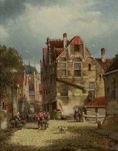 Dirk de Haan (Amsterdam 1832-1886 ) Summery town view - Dutch Art Gallery Simonis and Buunk Ede, Netherlands.