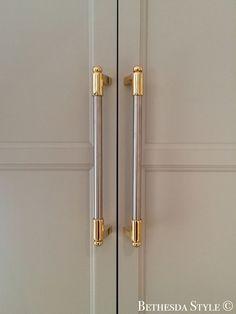~ Brass Steel Fridge Door Pulls ~ Custom Made by LaCanche Kitchen Knobs, Kitchen Cabinet Hardware, Wooden Kitchen, Home Hardware, Brass Hardware, Kitchen Fixtures, Kitchen Decor, Kitchen Cabinets, Grey Cabinets