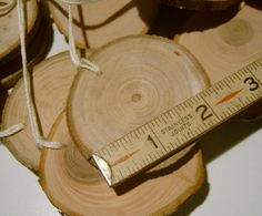 Wooden Gift Tags Ornament Blanks Hang Tags Tree Branch Slices 20 Piece 2 inch. $14,80, via Etsy.