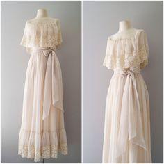 70s wedding dress ... My aunties wore something similar!
