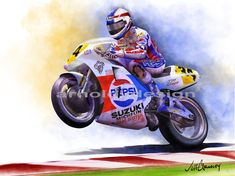 Stunning 'Arnoldy' Artwork For Sale on Fine Art Prints White Motorcycle, Motorcycle Racers, Motorcycle Art, Bike Art, Kevin Schwantz, Art Terms, Custom Canvas, Super Bikes, Cool Bikes