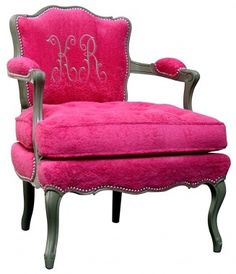 Pink Armchair and the monogram. How I would love to have this chair in my room.