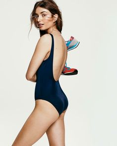 J.Crew scoopback swim tank and New Balance® 420 sneakers.
