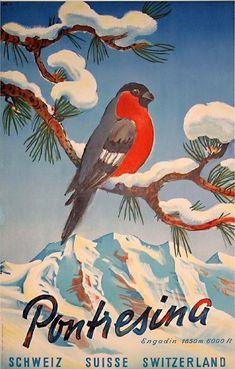 Pontresina, Switzerland, 1952 poster