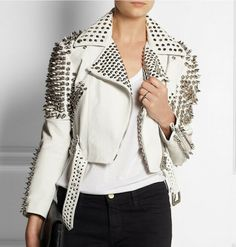 Woman Full White Punk Brando Spiked Studded Leather Jacket,Fashion Biker Jacket Studded Jacket made with 100 % Genuine Top Quality Cowhide Leather sold by Shop more products from on Storenvy, the home of independent small businesses all over the world. Leather Jacket Brands, Studded Leather Jacket, Leather Jackets, Gothic Jackets, Punk Jackets, Time 7, White Women, Clothes, Cowhide Leather
