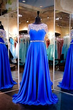 A Line Long Royal Blue Chiffon Beaded Prom Dress With Sleeves