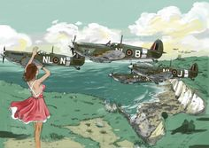 A squadron of spitfire mk IX escorting a group of Hawker Typhoon MKIB after a hard rhubarb mission a few days after the D-Day Ww2 Aircraft, Fighter Aircraft, Military Aircraft, P51 Mustang, Airplane Art, Airplane Painting, Airplane Fighter, Ww2 Planes, Bd Comics