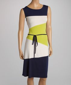 Take a look at the AA Studio Navy Blue & Lime Color Block Tie-Waist Dress on #zulily today!