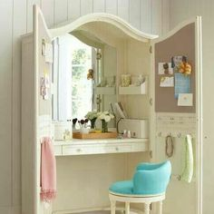 Absolutely LOVELOVELOVE this idea! TV Armoire Up-Cycled into a: Beautiful Vanity / Makeup Area