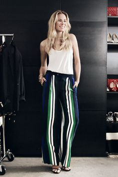 """Elizabeth Minett of Haute Appetit (@elizabethminett), is obsessed with Banana Republic's wide-legged striped pant. See why these chic, versatile, outfit-making pants are her """"closet VIP"""" (very important piece) and get fashion inspiration as four other super stylish women put their spin on some amazing spring styles that would reinvigorate any wardrobe."""