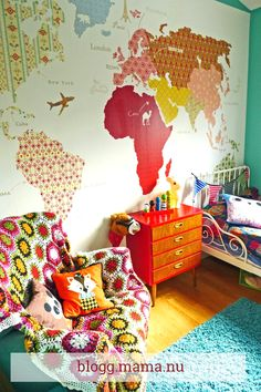 Great way to decorate a kids room with maps!