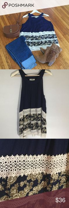 Floral lace tank 100% rayon. Length is right below hips. The Rusty Zipper Tops Blouses