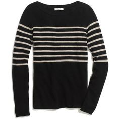 MADEWELL Stripeblock Gamine Sweater ($60) ❤ liked on Polyvore featuring tops, sweaters, stripes, true black, slash neck top, boatneck top, bateau neck top, boat neck sweater and madewell
