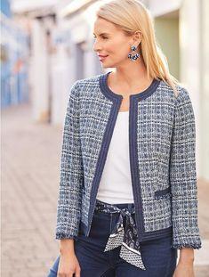 f8a6b28b93 Chambray-Trim Tweed Jacket | Talbots Chanel Jacket Trims, Chanel Style  Jacket, Summer