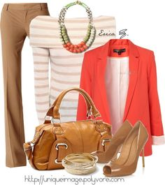 """Coral & Tan"" by uniqueimage ❤ liked on Polyvore"