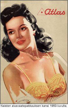 Naisten alusvaatepakkauksen kansi 1950-luvulta.