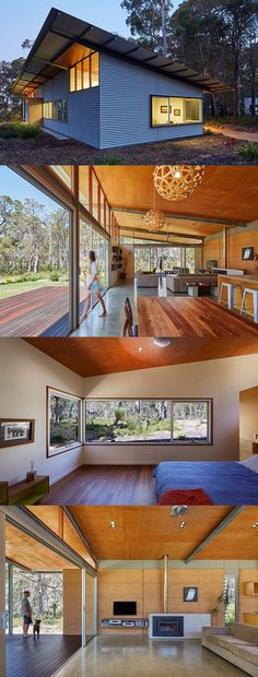 modern home in Australia has corrugated metal walls and roof with exposed structure and wood paneled ceiling polish concrete floors a wooden deck and simple furniture. Metal Roof, Metal Walls, Rustic Shed, Modern Lodge, Simple Shed, Simple House Design, Shed Homes, Simple Furniture, Wooden Decks