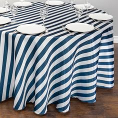 108 in. Round Navy Blue & White Striped Satin Tablecloth