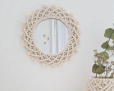 Ronde macrame mirror / spiegel ronde vintage / spiegel macrame / Boheemse ronde spiegel / zon een mirror / spiegel muur macrame / decoratie macrame