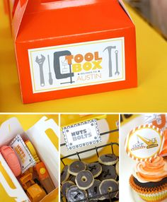 """""""I Dig You!"""" construction birthday party: each child got a gable """"tool box"""" to fill with sweets"""
