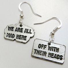 Earrings Alice In Wonderland Silver Tone Rectangle by cyberwezz