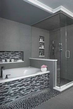 Modern bathroom design 441563938446383870 - 'Charcoal' Black Sliced pebble tile – Black and White Tiled Bathroom- Walk in glass shower- Modern and Contemporary Bathroom- Source by Shower Remodel, Bath Remodel, Master Bathroom Shower, Paint Bathroom, Bathroom Stand, White Bathroom, Bathroom Modern, Contemporary Bathrooms, Bathroom Caulk