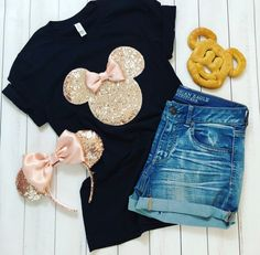 Enchanting Apparel for your Magical Vacation by EnchantingApparelCo Cute Disney Outfits, Disney Themed Outfits, Disneyland Outfits, Disney Clothes, Minnie Mouse Silhouette, Sequin Fabric, Disney Shirts, Disney Style, Disney Inspired