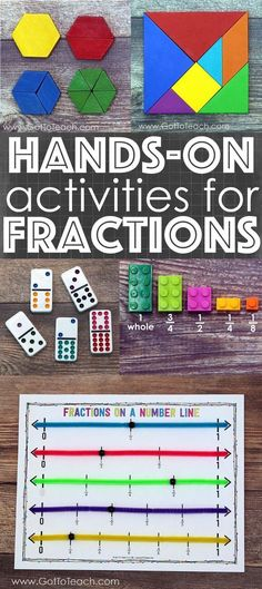 Several ideas for the conceptually teaching of fractions with hands-on activities.