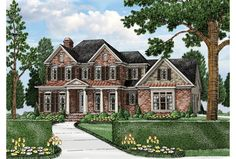 Beautiful brick exterior + modern open layout = this beautiful new home plan HWEPL76575. Don't miss the master suite: it's on the first floor (convenient!) and offers a gorgeous bathroom with room for a freestanding tub.