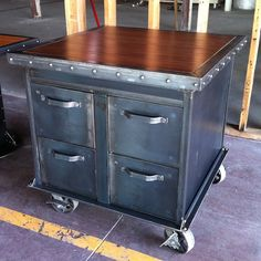 Ball bearing file cabinet slides  Fits letter and legal size files  Locking 5 casters  350lbs approximate weight  Riveted trim on top  Usually made from reclaimed filing cabinets  Mahogany top shown in pictures