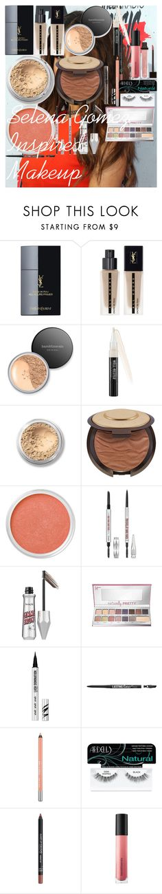 """""""Selena Gomez Inspired Makeup"""" by oroartye-1 on Polyvore featuring beauty, Yves Saint Laurent, Bare Escentuals, Becca, Benefit, It Cosmetics, Urban Decay, Ardell, MAKE UP FOR EVER and Jouer"""