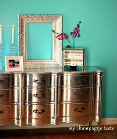 Well, I wouldn't dabble around with Silver Leaf.but I would most definitely own a metallic dresser like this! Furniture Projects, Furniture Makeover, Diy Furniture, Diy Projects, Furniture Refinishing, Upholstered Furniture, Vintage Furniture, Bedroom Furniture, Modern Furniture