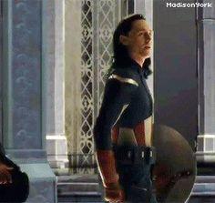 Loki in Captain American uniform (gif) ITS BEEN FOUND. YESSSSSS