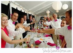 tented reception champagne toast