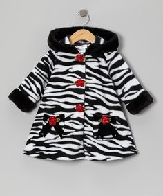 Take a look at this Zebra Fleece Hooded Swing Coat - Infant, Toddler & Girls on zulily today!