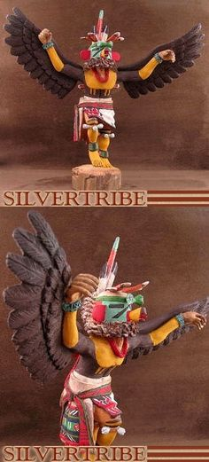 Hopi Kwahu or Eagle Kachina Doll by Artist Silas Roy at SilverTribe.com