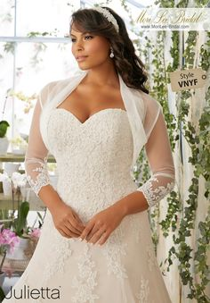 Dress Style VNYF Embroidered Lace Appliques And Scalloped Hemline With Crystal Beading On Net  Removable Net Bolero Jacket with Lace Appliqués. Colors available: White/Silver, Ivory/Silver, Cameo/Silver.