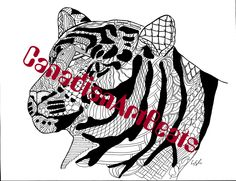 Tiger Coloring Page Endangered Animal Downloadable Printable Art by CanadianArtBeats on Etsy